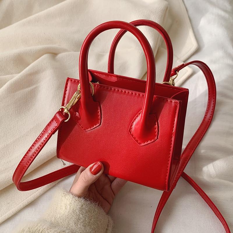 Solid Color Mini Square Tote Bag 2020 Fashion New High Quality PU Leather Women's Designer Handbag Lovely Shoulder Messenger Bag