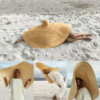 2019 Newly Women Lady Big Sun Weaving Straw Hat Wide Brim Cap Foldable Breathable For Summer Beach Holiday IR ing