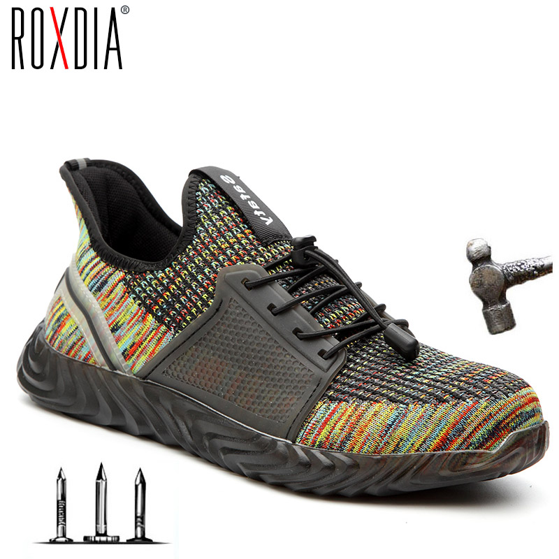 ROXDIA Brand Plus Size 35-48 Steel Toecap Men Women Safety Boots Fashion Work Sneakers Casual Male Shoes RXM142