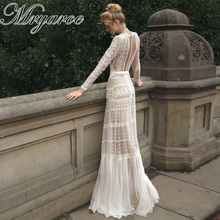 Mryarce Chic Wedding Dresses Unique Lace Charming Polka Dots long Sleeve Wedding Dress Bohemian Bridal Gowns