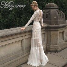 Mryarce שיק שמלות כלה ייחודי תחרה מקסים פולקה נקודות ארוך שרוול כלה בוהמית כלה שמלות