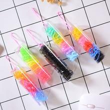 Petit Tube élastique jetable couleur noire anneau de cheveux petit élastique forte traction constamment Barreled corde de cheveux pour les filles
