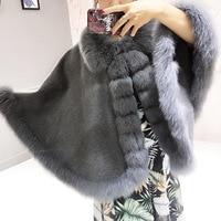 100% Cashmere Wool Wrap Shawl Scarf Real Fox Fur Ponchos Cape Coat Fashion Autumn Winter Oversized Fur Cloak Kahki Black Grey