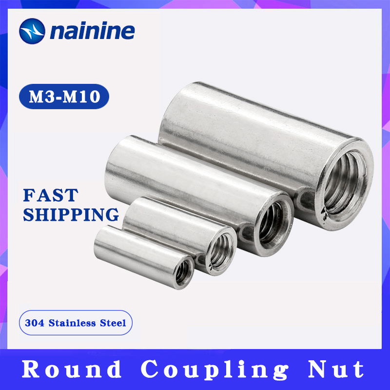 2Pcs M3 M4 M5 M6 M8 304 Stainless Steel extend long round coupling nut