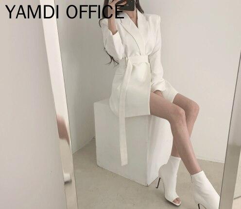 YAMDI Women Autumn Winter Blazer Sashes 2019 New Fashion Solid White Black Apricot Business Long Coat Jacket  Elegant Cardigan O