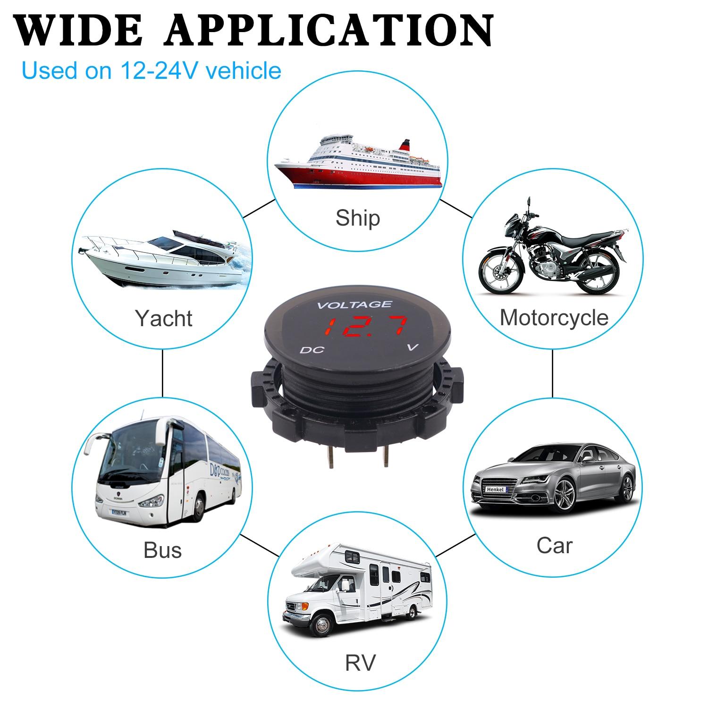 Marine Boot Auto LED Digital Dual Voltmeter Spannung Meter Monitor Halterung