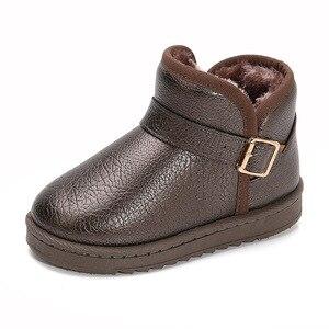 New Girls Boys Winter Snow Boots Kids Warm Stone Texture PU Leather Outdoor Shoes Flat Buckle Children Platform Boots D09093