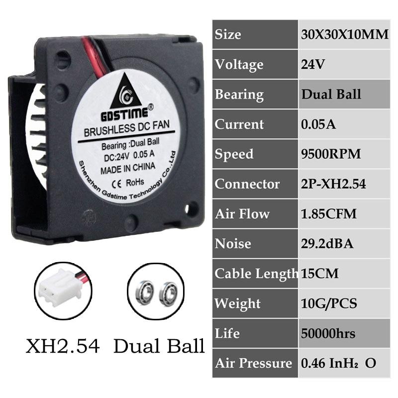 2 шт. Gdstime DC 5 в 12 В 24 в 30x30x10 мм рукав двойной шар 1 дюймов маленький мини вентилятор охлаждения 30 мм x 10 мм 3 см 3010 3d принтер - Цвет лезвия: 0.05A3010B24V2P2.54