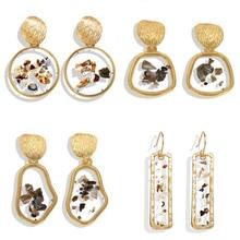 Mostyle золотые корейские модные серьги-капли в форме сердца для женщин, новые трендовые геометрические круглые серьги ручной работы с блестками, ювелирные изделия