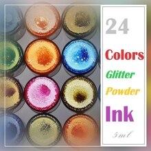 Китайский стиль, блестящие Порошковые цветные чернила, чернила для каллиграфии, 24 цвета, стеклянные бутилированные чернила для авторучки