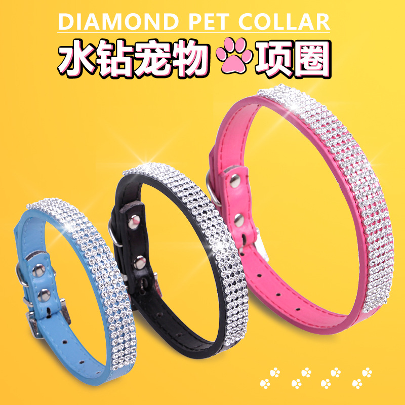 Sleeves Dog Teddy Small Medium-sized Dog Europe And America Pu Collar Case Man-made Diamond Pet Collar