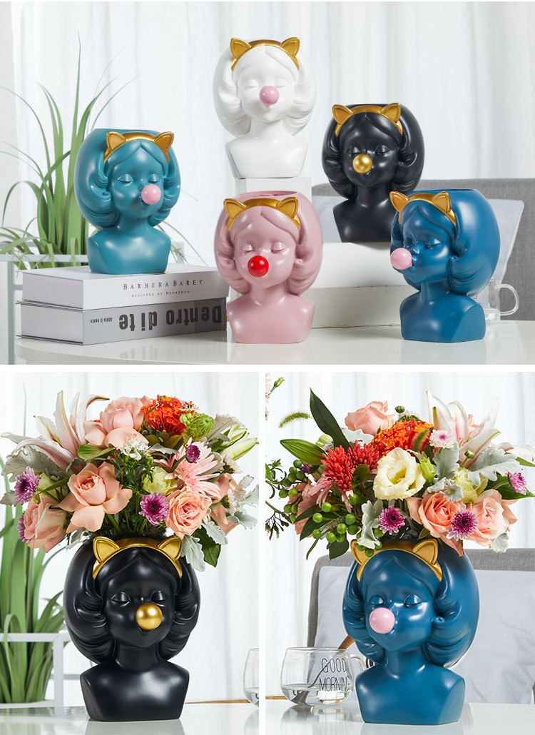 Creative-Nordic-style-Resin-vase-Cute-girl-bubble-gum-Decorative-flower-pot-modern-lovely-Art-decoration YXYT (21)
