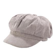 Осень Зима для женщин Восьмиугольные шляпы сплошной цвет вельвет литературный художник кепки элегантный основы Вязание Одежда Аксессуары