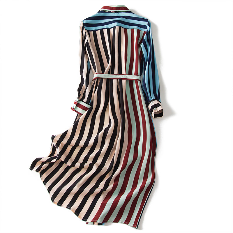 2020 nuevo vestido de camisa de seda de peso pesado a la moda moderno con estampado de rayas de manga larga con lazo en la cintura ol - 3