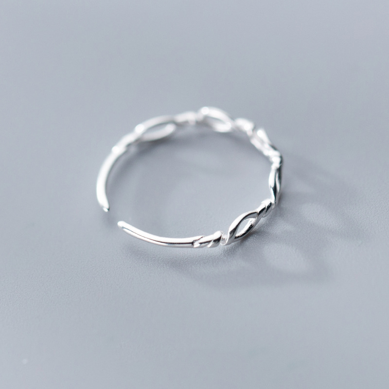 Real 925 Sterling Silver Minimalist Geometric Hollow Braided Rope Adjustable Ring For Fashion Women Party Fine Jewelry
