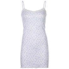 HEYounGIRL Summer Floral Print Sleeveless Mini Dress Casual Spaghetti Strap Short DressLadies Patchwork Lace White Women Dress