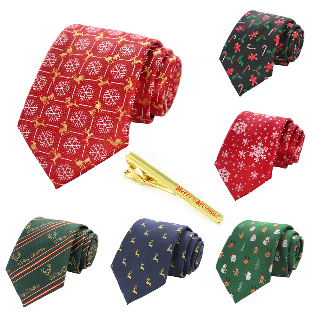 KAMBERFT 100% Print Silk Christmas Tie & Tie Clips Fashion 8cm Necktie Snow Santa Design For Men And Kids Christmas Gift
