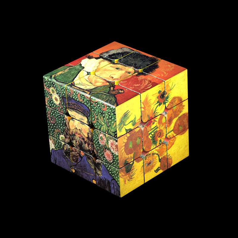 Hot Selling Custom Made Van Gogh Magic Cube 3x3x3 UV Print Professional Collection Speed Puzzle Neo Cubo Magico Educational Toys