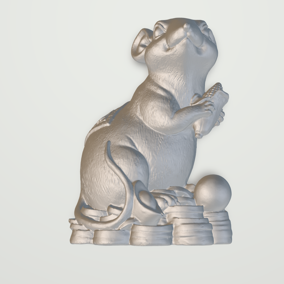China Style Mouse And Coin 3D Statue STL File For 3D Printing CNC Router ArtCAM Rhino Aspire Type3 G001
