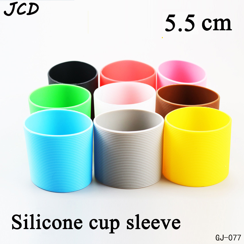 JCD 5.5cm Colorful Silicone Heat Insulated Cup Sleeve Stripes Dense Stripes Design Non-slip For Mugs Ceramic Cup Plumy