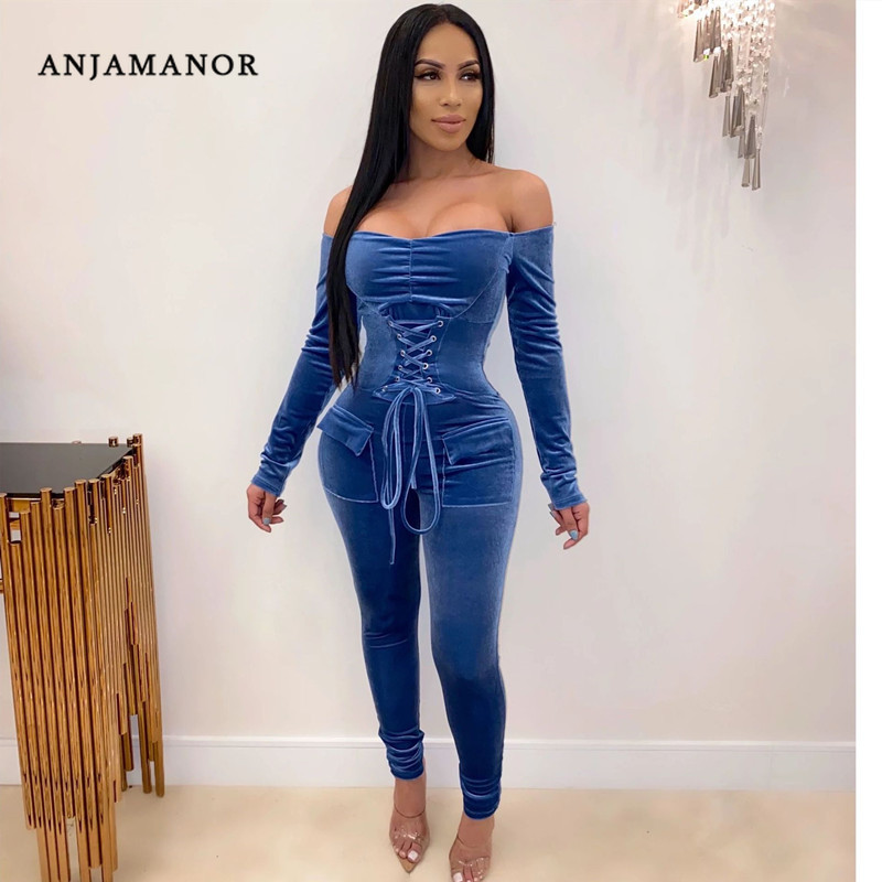 ANJAMANOR Sexy Velvet Jumpsuit Winter Party Club One Piece Outfits Lace Up Long Sleeve Off Shoulder Bodycon Jump Suits D30-AF97
