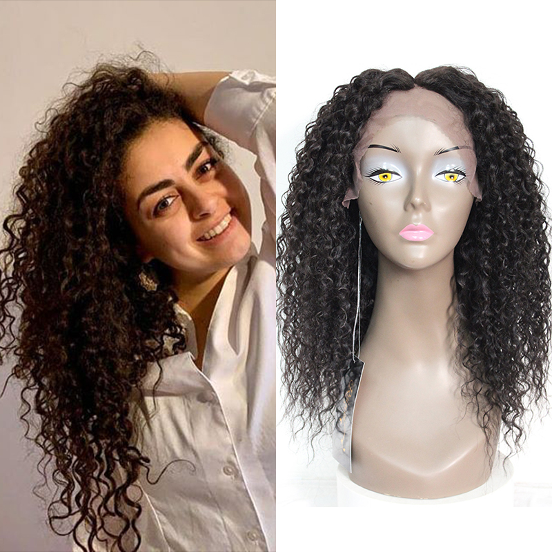 Kinky Curly Synthetic Mixed 30% Human Hair Lace Front Wigs For Black Women Middle Part Natural Color Long Wavy Lace Wig X-TRESS