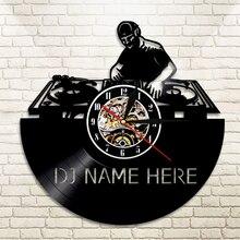 Wall-Clock Led-Lighting Music Creative Personalized DJ Disco Vinyl LP 12-Art-Lamp Etched