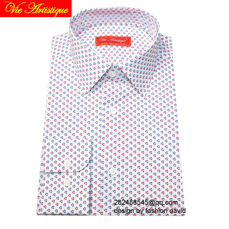 Custom Tailor Made Men's Bespoke Cotton Floral Shirts Business Formal Wedding Ware Blouse White White Blue Red Flower Fashion