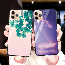 Tempered Glass Case For iPhone 11 X 8 XR 7 Plus Case Luxury Silicon PC  Cover For iphone 11 Pro Max XS SE 2020 6 6S Plus Covers privacy tempered glass magnetic case for iphone 11 pro max xs max xr x 8 7 6s 6 plus se magnet metal bumper anti peeping cover