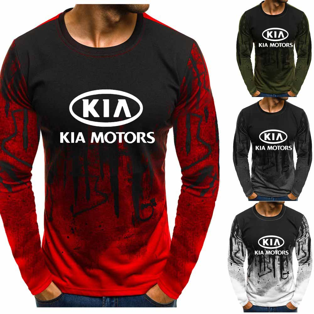 Gradient O Neck Pullover Sweatshirts KIA Motors Car Logo Printed Casual Cotton Men Hoodies Hip Hop Harajuku Men Clothing