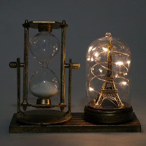 Retro Style Iron Tower Glow Star Lights Hourglass Timers Desktop Decorative Ornament- 125x155mm
