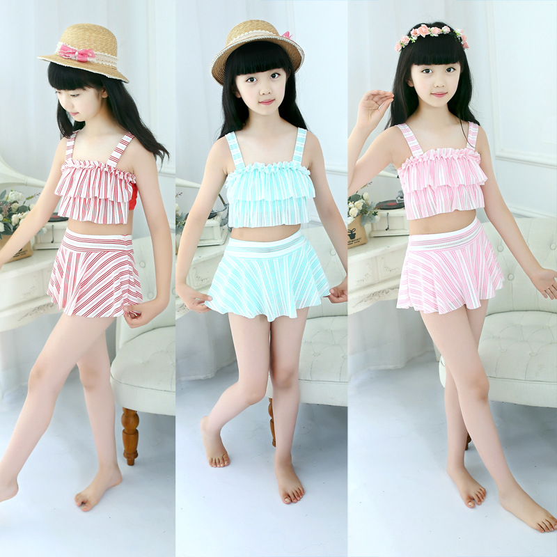 Cute CHILDREN'S Swimwear Girls GIRL'S Swimwear Flounced Set Baby Split Type Big Boy 3-8-Year-Old