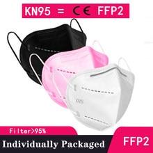 Máscara ffp2 de 10-100 peças sem válvula kn95 ffp 2 pm2.5 espanha máscaras ffp2mask ce máscara de filtro protetora anti máscara de poeira boca