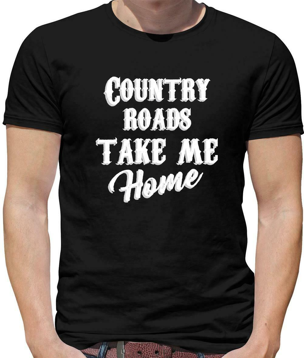 Country Roads, Take Me Home Mens T-Shirt - Song Lyrics - John Denver - 70's Comfortable top tee image
