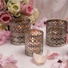 Luces de noche decoración de vidrio hueco hierro vela transparente de plata Vintage Europeo vela copa de vacaciones, fiesta de boda