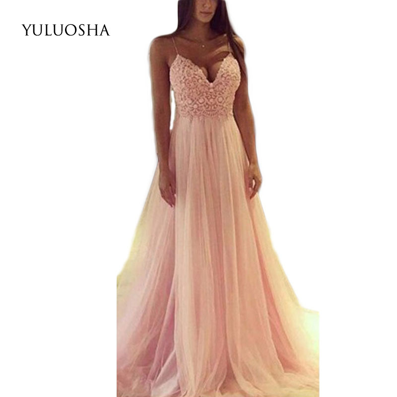 YULUOSHA Evening Dress 2020 Sexy V-Neck Sleeveless Applique Evening Party Prom Formal Gowns Long Dresses Vestidos Robe De Soiree
