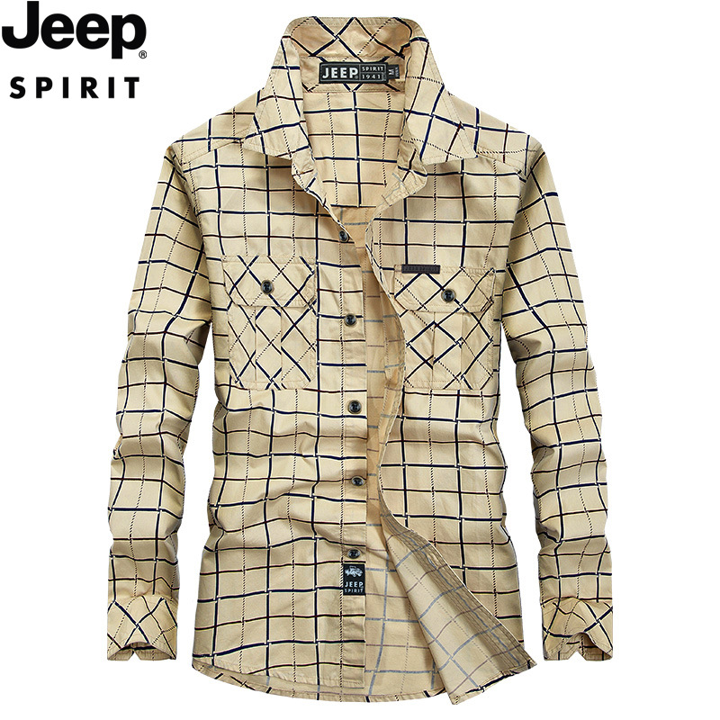 JEEP SPIRIT Spring Long Sleeve Plaid Shirt Men Pure Cotton Single Breasted Military Shirt Male Blusa Masculina Camisas Hombre