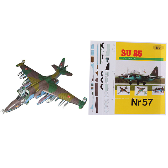 1PC 1:33 Su-25 Fighter Aircraft DIY 3D Paper Model Building Sets Construction Toys Educational Toys 5
