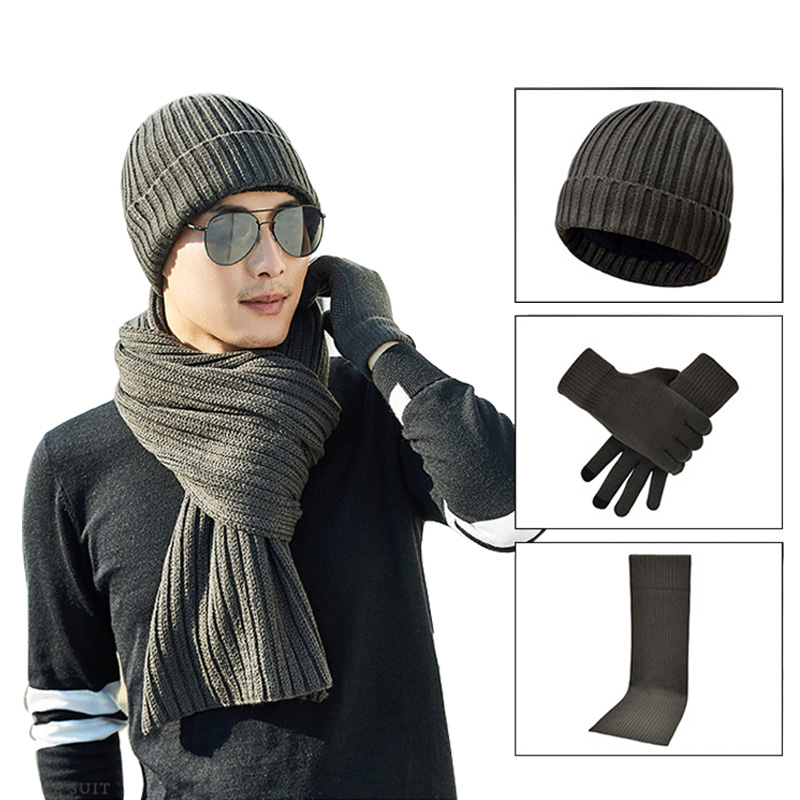 Autumn Winter Faux Cashmere Scarf Gloves Hat Set Solid Knit Men's Scarf Shawl Warm Beanies Male Mitten Long Tippet Cap Gifts