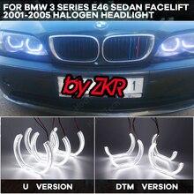 خاتم على شكل هالة DRLDTM U شكل ضوء أبيض كريستال عيون الملاك نمط لسيارات BMW 3 سلسلة E46 سيدان تجميل 01 05 مصباح هالوجين
