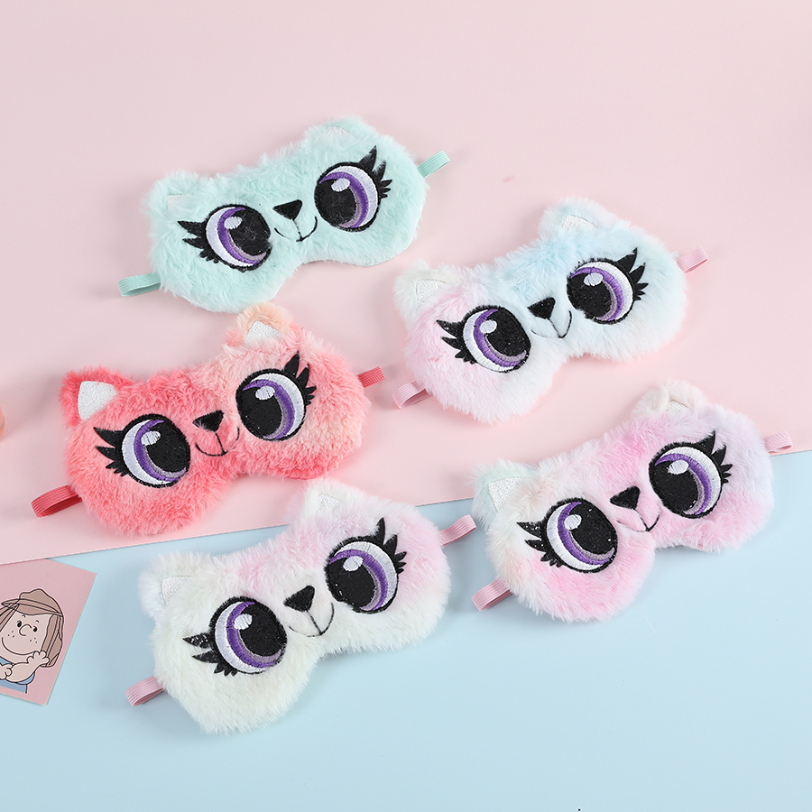Kids Panda Plush Eye Mask Cute Rabbit Sleeping Blindfold for Children Winter Travel Soft Animal Eye Mask Ins Shade Cover