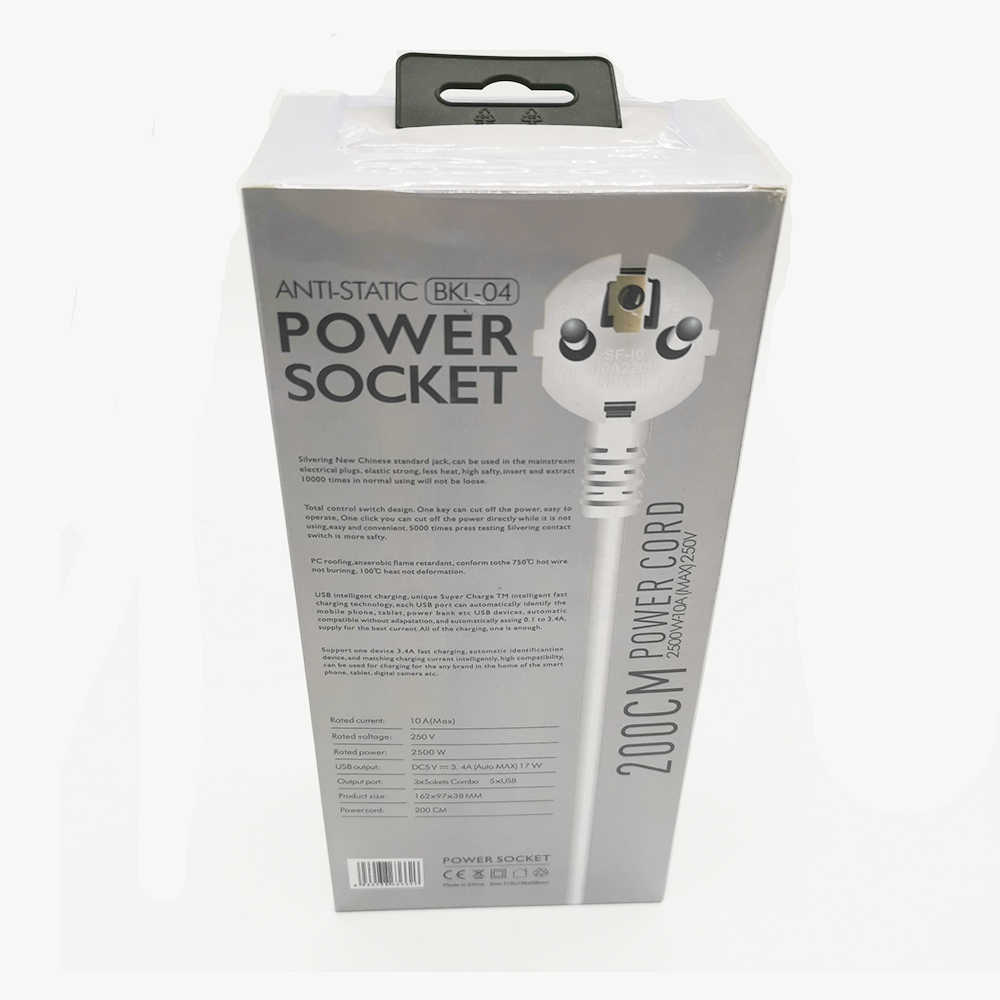 Power Strip Surge Protector 3 EU ปลั๊กปลั๊กไฟฟ้าซ็อกเก็ต USB 5 พอร์ตอะแดปเตอร์ Dock 5V 3.4A 2 M EXTENSION CORD