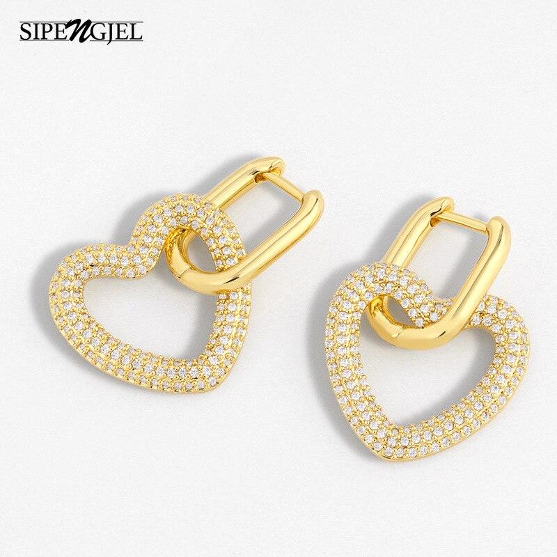 1 Pair Fashion Geometric Heart Earrings High Quality Micro Cz Crystal Love...
