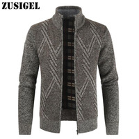 ZUSIGEL New Casual Mandarin Collar Cardigan Male Sweater Coat Thick Wool Geometric Zipper Men's Winter Sweater for 2019
