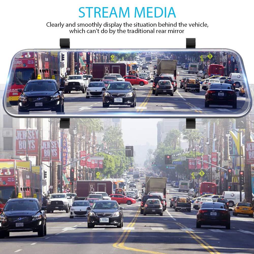 HGDO 12 pouces 2K voiture DVR rétroviseur caméra Dvr 1080P Dash Cam enregistreur vidéo automatique avec 2 caméras de stationnement Dashcam - 2