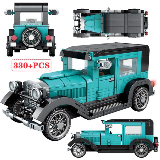 City Mechanical Classic Car Technic Classical Convertible Racing Vehicle Building Blocks Creator MOC Model Bricks Toys For Kids