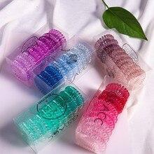 Спиральные Галстуки для волос прозрачные для женщин и девочек прозрачный телефонный шнур катушки эластичные ленты для волос не складывается веревка для волос кольцо инструмент для укладки