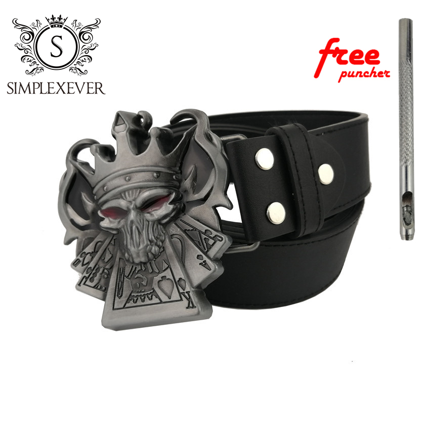 Vintage Silver Skull Poker Belt Buckle Men's Gift Clothes Accessories Belt Buckles For Men With Leather Belt Drop Shipping 2020