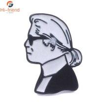 Celebrity Lagerfeld karl Brooches side profile commemorating Enamel Pin Set personality cute badge men women Jewelry