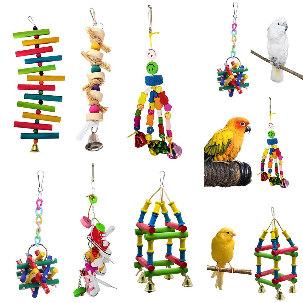 Homedeco Bird Parrot Parakeet Budgie Cockatiel Cage Wood Hammock Triangle Swing Toy Hanging Toy with Bells